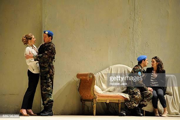 Malin Bystrom as Fiordiligi Nikolay Borchev as Guglielmo Charles Castronovo as Ferrando and Michele Losier as Dorabella in the Royal Opera's...