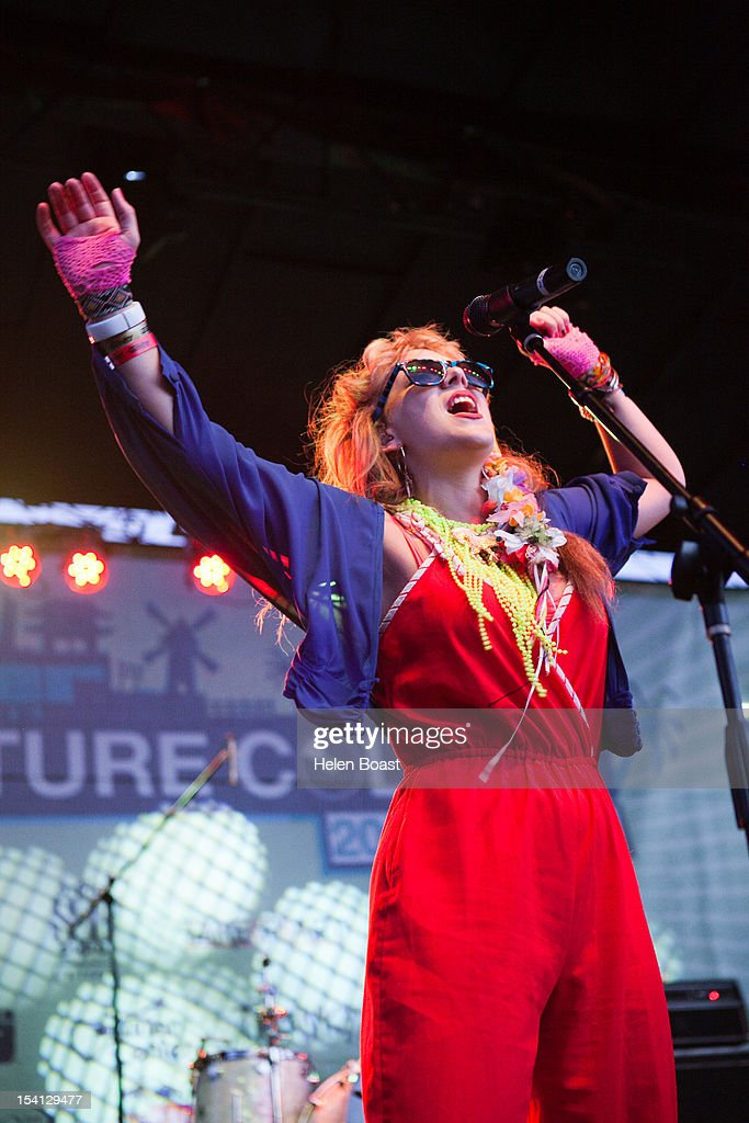 Malin Dahlstrom of Niki and the Dove performs on stage at Taix during Filter Magazine's Culture Collide music festival on October 7, 2012 in Los Angeles, California.