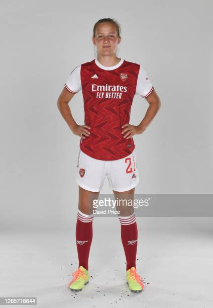 Malin Gut of Arsenal during the Arsenal Women's Photocall at London Colney on August 12, 2020 in St Albans, England.