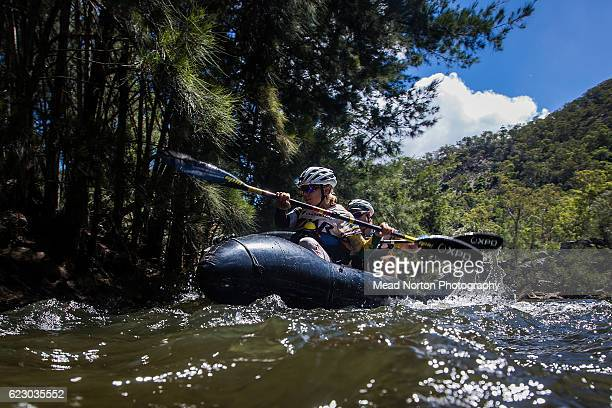 Malin Hjalmarsson from Team Swedish Armed Forces Adventure paddilng through the first rapid of the pack rafting leg down the Shoalhaven River during...