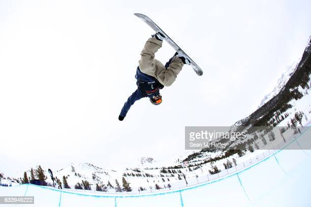 Malin Markus of Finland competes in the final round of the of the FIS Snowboard World Cup 2017 Men's Snowboard Halfpipe during the Toyota U.S. Grand...