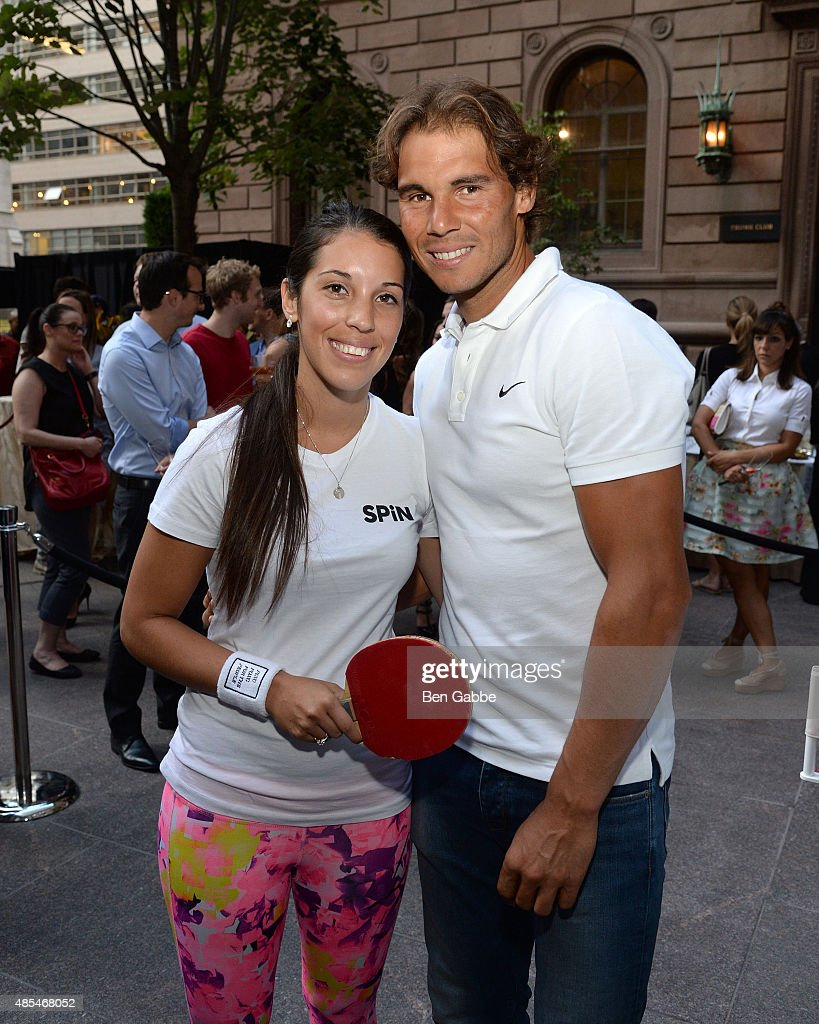Malin Pettersson (L) and Rafael Nadal attend The New York Palace for a Courtyard Cocktail Celebration at The New York Palace Hotel on August 27, 2015 in New York City.