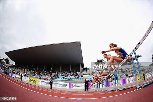 Malin Skogstrom of Sweden competes in the Heptathlon 100m Hurdles during day one of the European Athletics U23 Championships at Kadriorg Stadium on...