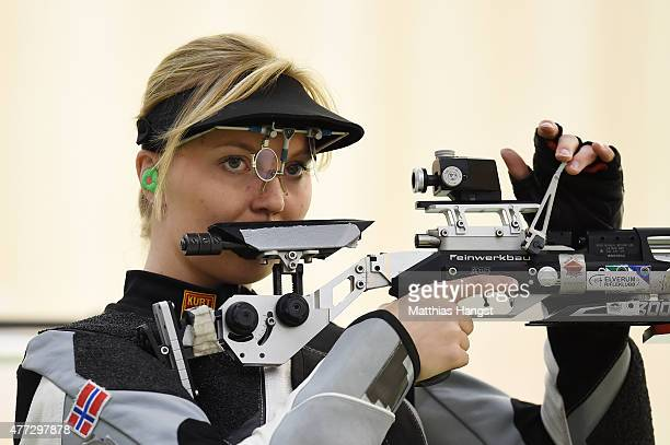 Malin Westerheim of Norway competes in the Women's 10m Air Rifle during day four of the Baku 2015 European Games at Baku Shooting Centre on June 16...