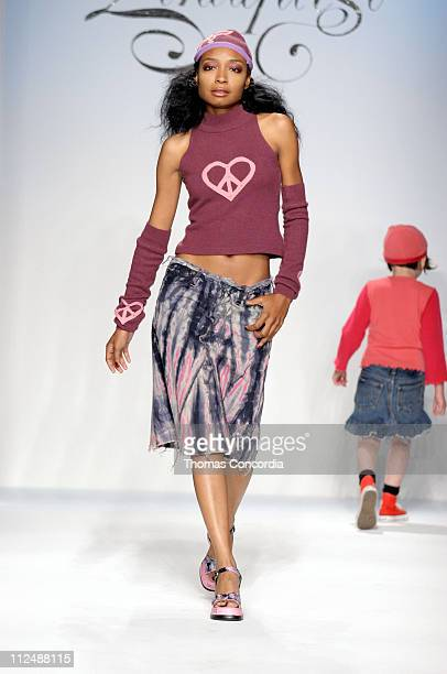 Malina Moye wearing Deborah Lindquest Fall 2005 during MercedesBenz Fall 2005 LA Fashion Week at Smashbox Studios Deborah Lindquist Runway at...