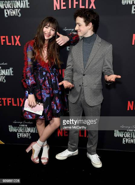 Malina Weissman and Louis Hynes attend the A Series Of Unfortunate Events Season 2 Premiere at Metrograph on March 29 2018 in New York City