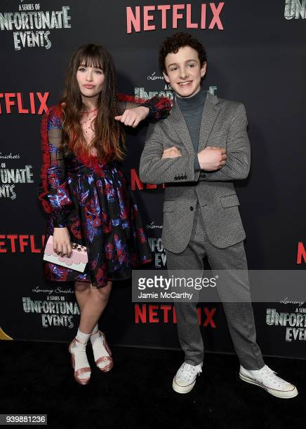 Malina Weissman and Louis Hynes attend the 'A Series Of Unfortunate Events' Season 2 Premiere at Metrograph on March 29 2018 in New York City