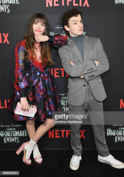 Malina Weissman and Louis Hynes attend the Netflix Premiere of 'A Series of Unfortunate Events' Season 2 on March 29 2018 in New York City