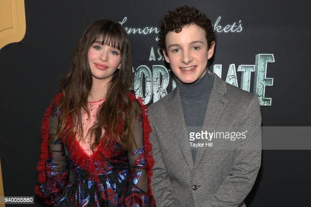 Malina Weissman and Louis Hynes attend the the Season 2 premiere of Netflix's A Series Of Unfortunate Events at Metrograph on March 29 2018 in New...