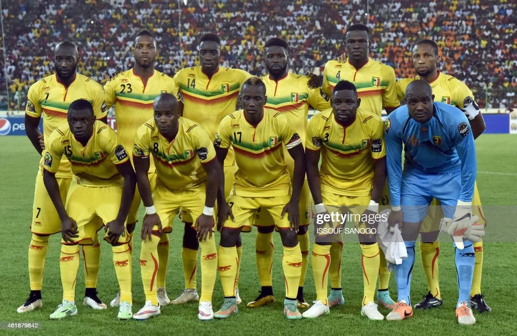 Mali's squad (top L-R) forward Mustapha Yatabare, defender Molla Wague, midfielder Sambou Yatabare, midfielder Bakary Sako, defender Salif Coulibaly, midfielder Seydou Keita, (bottom L-R) defender Drissa Diakite, midfielder Yacouba Sylla, midfielder Mamoutou N'Diaye, defender Adama Tamboura and goalkeeper Soumbeylia Diakite pose for a group picture ahead of the 2015 African Cup of Nations group D football match between Mali and Cameroon in Malabo on January 20, 2015.