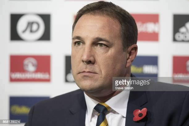 Malky Mackay, interim manager of Scotland holds a press conference to name his squad for the forthcoming International Challenge Match against the...