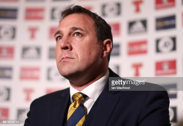 Malky MacKay is seen as Shelly Kerr is unveiled as Scotland Women's National Team Head Coach at Hampden Park on April 12 2017 in Glasgow Scotland
