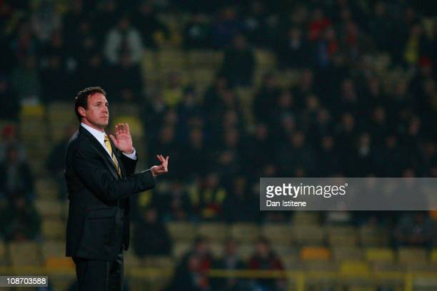 Malky Mackay manager of Watford issues instructions to his players during the npower Championship match between Watford and Crystal Palace at...
