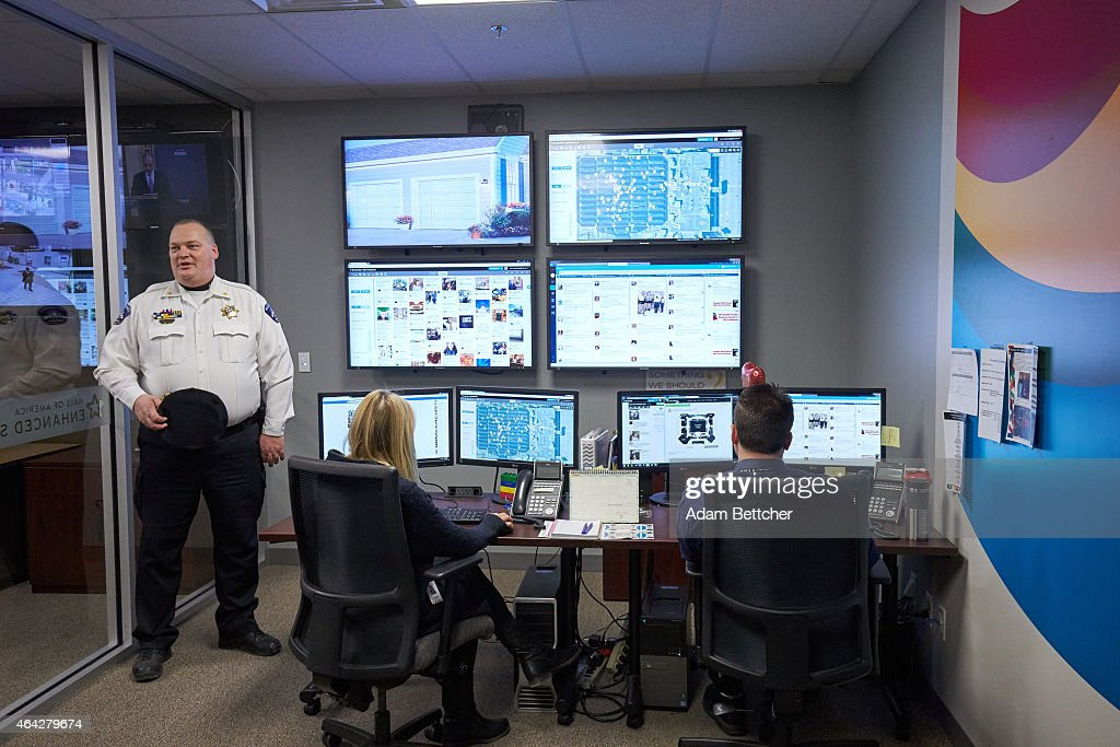Mall of America Director of Security Major Doug Reynolds explains the social media monitoring team during a tour of Mall of America security systems on February 23, 2015 in Bloomington, Minnesota. In a newly released video, Somali militant group al-Shabaab called for terror attacks at a number of sites, including Mall of America, the largest shopping mall in the United States.