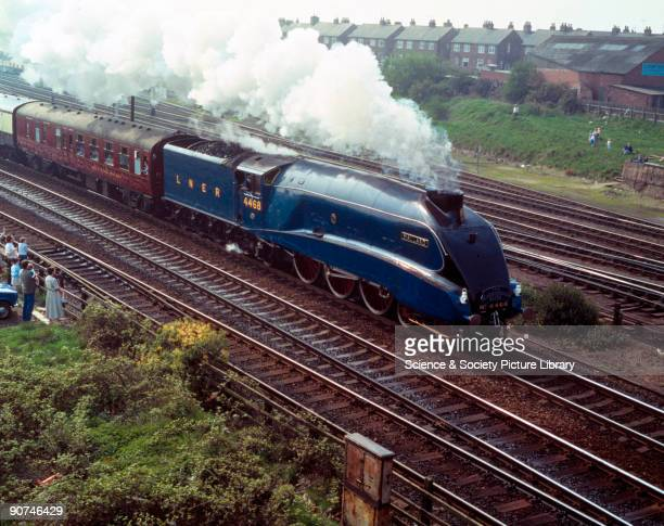 'Mallard' pulling a Friends of the National Railway Museum 10th anniversary special 'The Scarborough Flyer' heading for Scarborough via the...