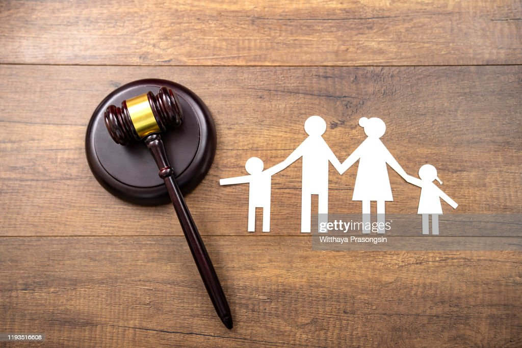 mallet showing separation of family and house : Stock Photo