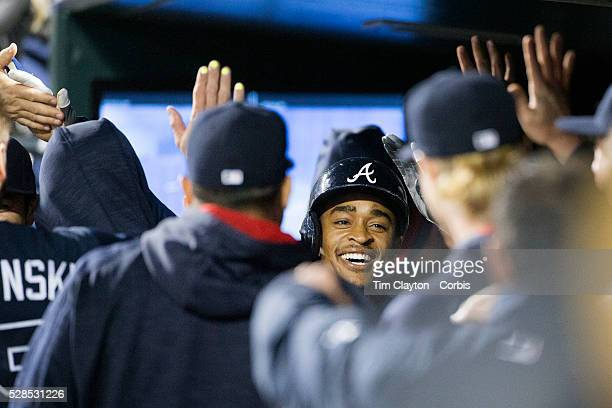 Mallex Smith of the Atlanta Braves is congratulated by team mates after hitting a home run during the Atlanta Braves Vs New York Mets MLB regular...