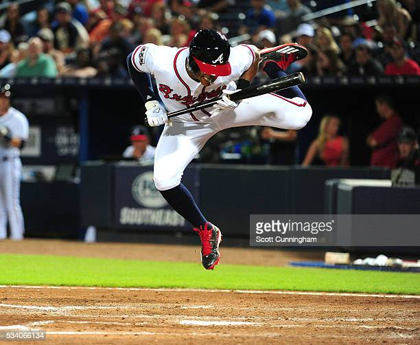 Mallex Smith of the Atlanta Braves jumps out of the way of a seventh inning pitch by Michael Blazek of the Milwaukee Brewers at Turner Field on May...