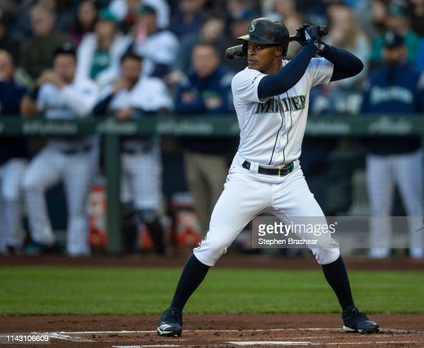 Mallex Smith of the Seattle Mariners waits for a pitch during an atbat in a game against the Houston Astros at TMobile Park on April 13 2019 in...