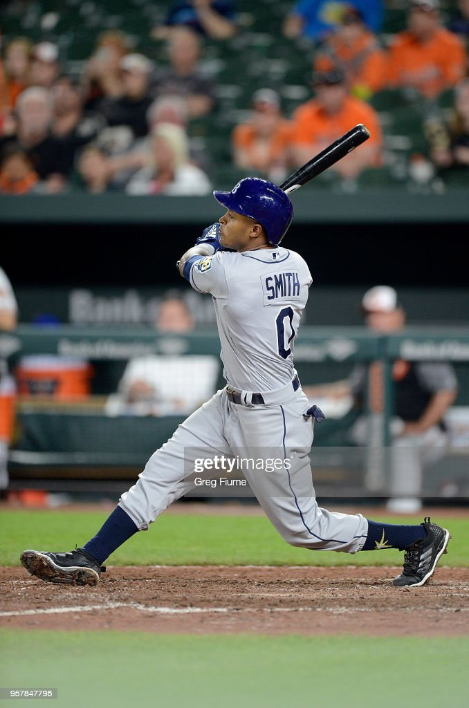 Mallex Smith #0 of the Tampa Bay Rays hits a double in the eighth inning against the Baltimore Orioles during the second game of a doubleheader at Oriole Park at Camden Yards on May 12, 2018 in Baltimore, Maryland.