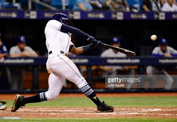 Mallex Smith of the Tampa Bay Rays hits a single in the seventh inning against the Kansas City Royals in a baseball game on August 20 2018 at...