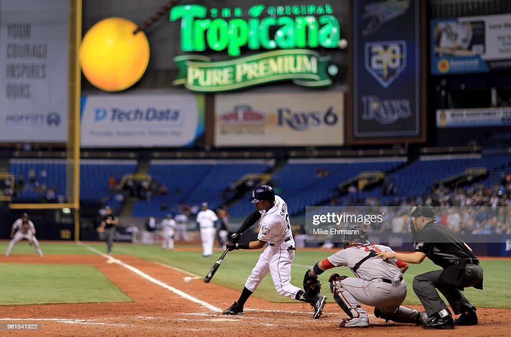 Mallex Smith #0 of the Tampa Bay Rays hits in the ninth inning during a game against the Boston Red Sox at Tropicana Field on May 22, 2018 in St Petersburg, Florida.