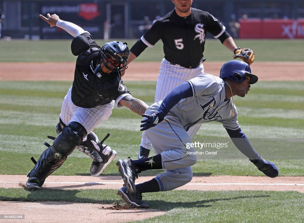 Mallex Smith #0 of the Tampa Bay Rays is taggred out trying to steal home by Omar Narvaez #38 of the Chicago White Sox in the 2nd inning at Guaranteed Rate Field on April 11, 2018 in Chicago, Illinois.