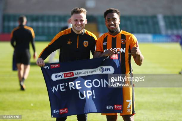 Mallik Wilks and James Scott of Hull City follwoing the Sky Bet League One match between Lincoln City and Hull City at Sincil Bank Stadium on April...