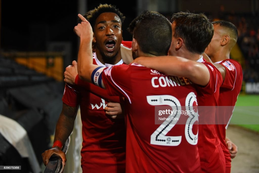 Mallik Wilks of Accrington Stanley celebrates after scoring during the Sky Bet League Two match between Notts County and Accrington Stanley at Meadow Lane on August 25, 2017 in Nottingham, England.