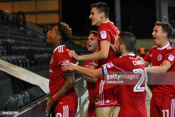 Mallik Wilks of Accrington Stanley celebrates after scoring during the Sky Bet League Two match between Notts County and Accrington Stanley at Meadow...