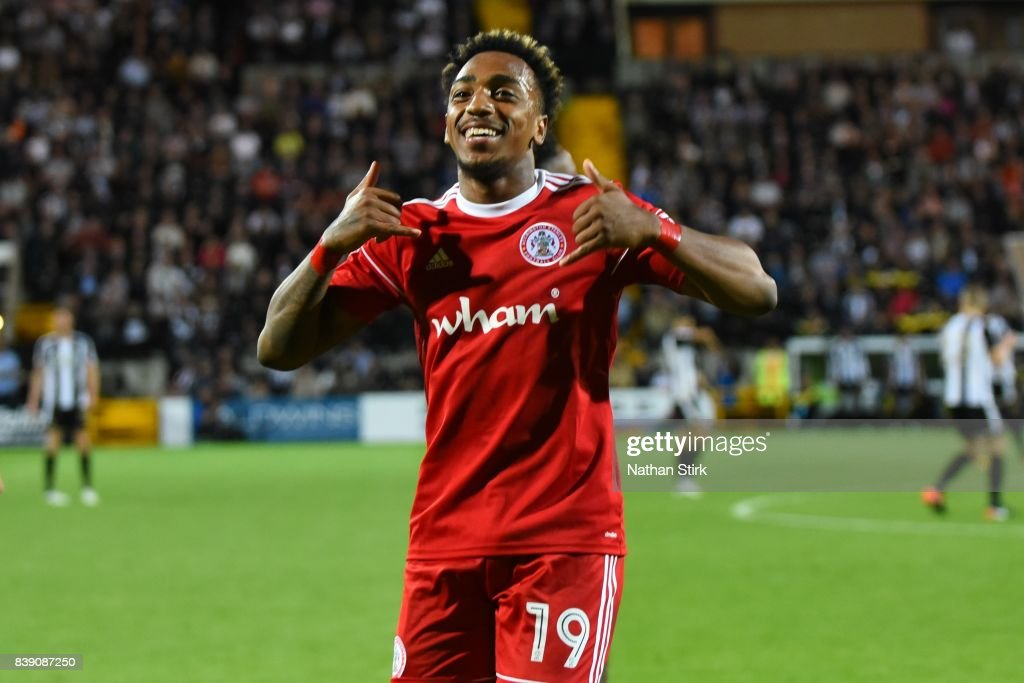 Mallik Wilks of Accrington Stanley celebrates during the Sky Bet League Two match between Notts County and Accrington Stanley at Meadow Lane on August 25, 2017 in Nottingham, England.
