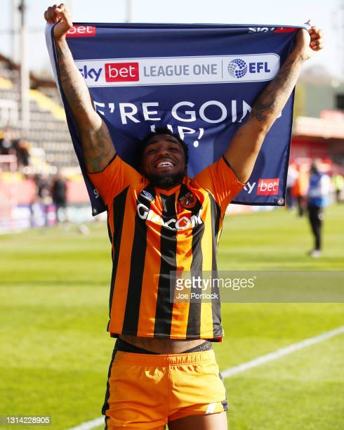 Mallik Wilks of Hull City celebrates during the Sky Bet League One match between Lincoln City and Hull City at Sincil Bank Stadium on April 24, 2021...