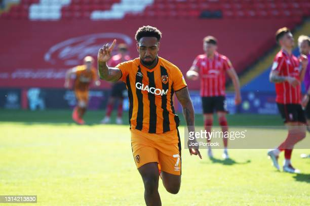 Mallik Wilks of Hull City celebrates scoring during the Sky Bet League One match between Lincoln City and Hull City at Sincil Bank Stadium on April...