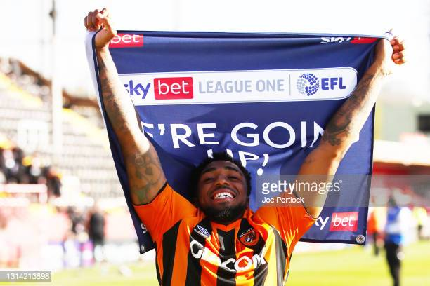 Mallik Wilks of Hull City during the Sky Bet League One match between Lincoln City and Hull City at Sincil Bank Stadium on April 24, 2021 in Lincoln,...