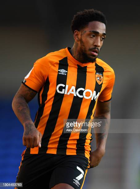 Mallik Wilks of Hull City looks on during the Sky Bet League One match between AFC Wimbledon and Hull City at Plough Lane on February 27, 2021 in...