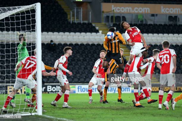 Mallik Wilks of Hull City scores their team's first goal past Jayson Leutwiler of Fleetwood Town during the Papa John's Trophy match between Hull...