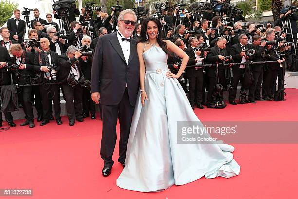 Mallika Sherawat and a guest attend 'The BFG ' premiere during the 69th annual Cannes Film Festival at the Palais des Festivals on May 14 2016 in...