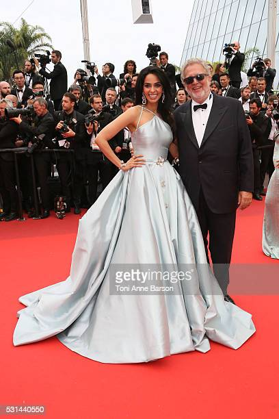 Mallika Sherawat and Martin Moszkowicz attend a screening of 'The BFG' at the annual 69th Cannes Film Festival at Palais des Festivals on May 14 2016...