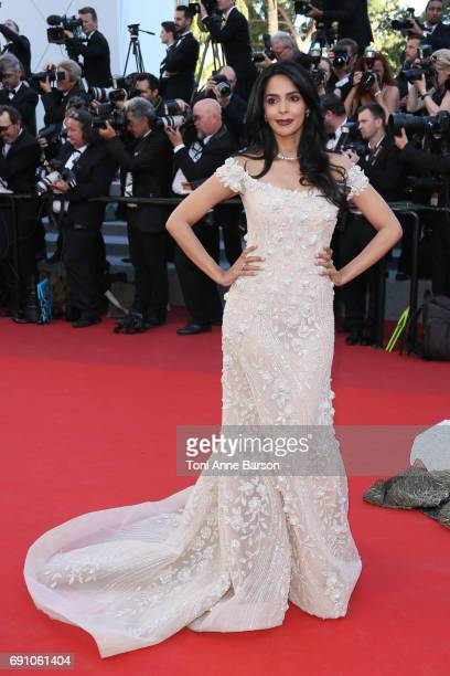 Mallika Sherawat attends the 'Ismael's Ghosts ' screening and Opening Gala during the 70th annual Cannes Film Festival at Palais des Festivals on May...