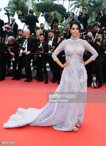 Mallika Sherawat attends the screening of Sorry Angel during the 71st annual Cannes Film Festival at Palais des Festivals on May 10 2018 in Cannes...