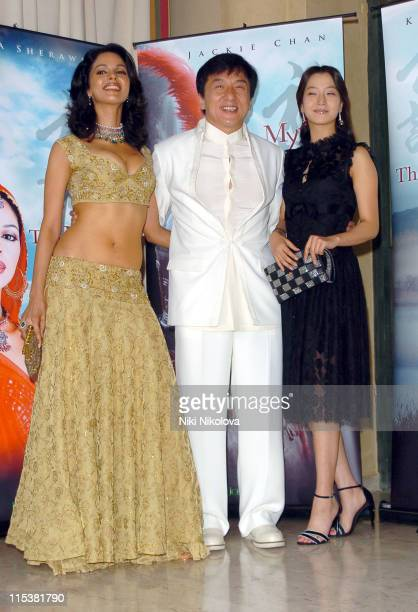 Mallika Sherawat Jackie Chan and Kim HeeSeon during 2005 Cannes Film Festival 'The Myth' Photocall at Majestic Hotel in Cannes France