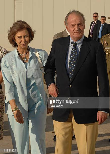 Mallorca July 18th TRH King Juan Carlos and Queen Sofia Arrive to Sant Joan Military Airport in Mallorca to Commence Their Annual Summer Holiday