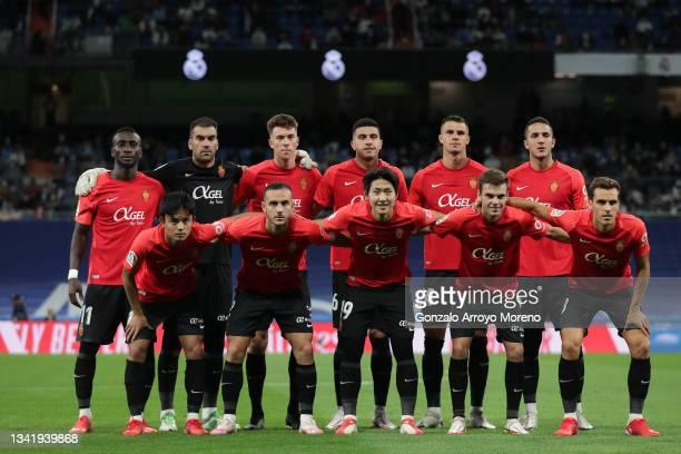Mallorca line up prior to start the La Liga Santander match between Real Madrid CF and RCD Mallorca at Estadio Santiago Bernabeu on September 22,...