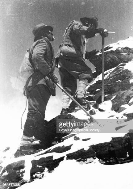 Mallory and Norton approach their highest point 26985 feet on Everest George Mallory and Edward Norton approach their record setting high point of...