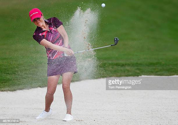 Mallory Blackwelder hits a shot on the 18th hole during round one of the Pure Silk Bahamas LPGA Classic at the Ocean Club course on February 5 2015...