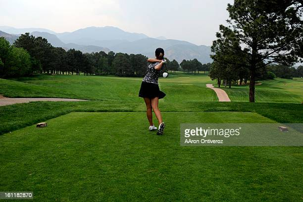 Mallory Blackwelder of Versailles Ken tees off during the United States Women's Open qualifier at the Broadmoor Golf Course in Colorado Springs on...