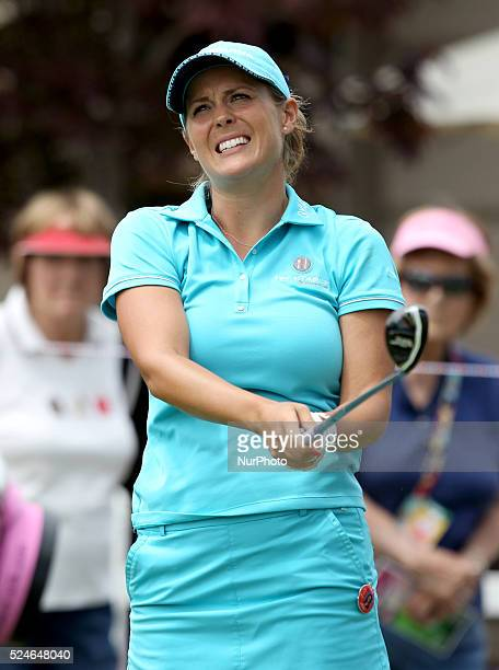 Mallory Blackwelder of Versailles KY follows her tee shot from the first hole during the first round of the Marathon LPGA Classic golf tournament at...