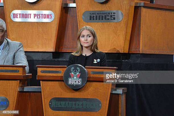 Mallory Edens of the Milwaukee Bucks during the 2014 NBA Draft Lottery on May 20 2014 at the ABC News' 'Good Morning America' Times Square Studio in...