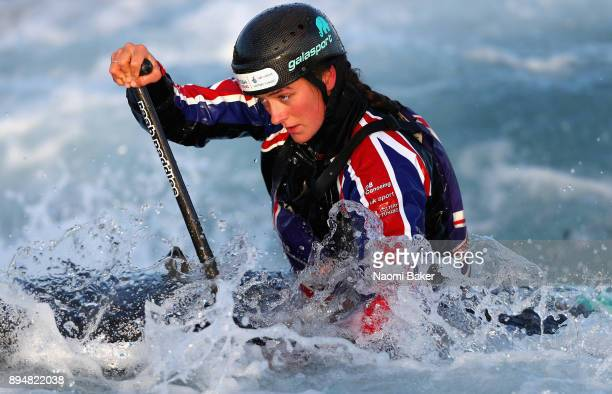 Mallory Franklin in action during a Canoe Slalom Training session and Portrait session at Lee Valley White Water Centre on December 14 2017 in London...