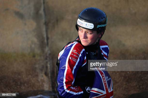 Mallory Franklin looks on during a Canoe Slalom Training session and Portrait session at Lee Valley White Water Centre on December 14 2017 in London...